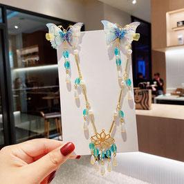 ヘアクリップ 漢風 中華風 チャイナドレス 漢服 髪飾り ヘアアクセ20210917 水色 青