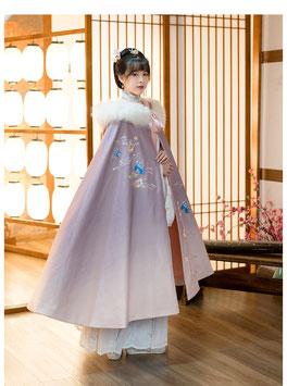 ☆.  中華風ポンチョ 漢風上掛け 羽織 防寒 秋冬 漢服上着 紫 グラデーション フード付 ふわふわ かわいい きれい 刺繍