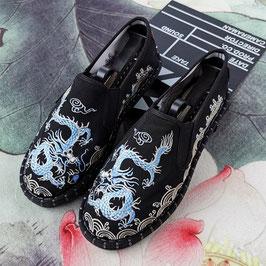 北京布靴 刺繍フラットシューズ ≪青龍≫