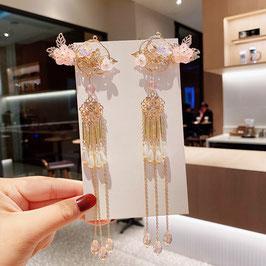 ヘアクリップ 漢風 中華風 チャイナドレス 漢服 髪飾り ヘアアクセ20210911 ピンク