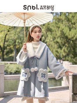 ☆.  チャイナ風コート 漢風コート ふわふわ かわいい ぽんぽん ブルー 水色
