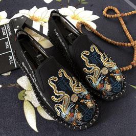北京布靴 刺繍フラットシューズ ≪凤凰祥黑≫