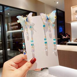ヘアクリップ 漢風 中華風 チャイナドレス 漢服 髪飾り ヘアアクセ20210919 水色 青
