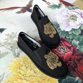 北京布靴 刺繍フラットシューズ  ≪金虎≫