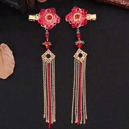 ヘアクリップ 漢風 中華風 チャイナドレス 漢服 髪飾り ヘアアクセ20210901 赤
