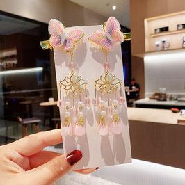 ヘアクリップ 漢風 中華風 チャイナドレス 漢服 髪飾り ヘアアクセ20210912 ピンク