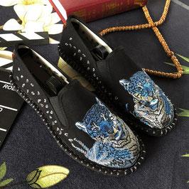 北京布靴 刺繍フラットシューズ ≪青虎≫