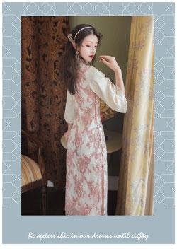☆サイドボタンの花柄チャイナ風ワンピース☆