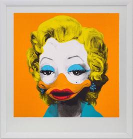 """Special : Original-Siebdruck """"Dandy Borehole - Marta Mortenson, orange"""" mit weißer Rahmung"""