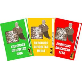 3 CUADERNOS DE EJERCICIOS (DIFICULTAD BAJA, MEDIA Y ALTA)