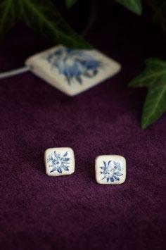 Keramik-Ohrringe viereckig (blau)