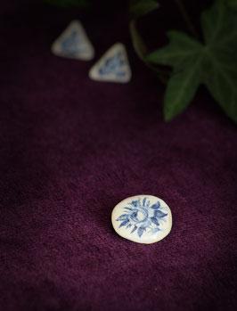 Keramik-Anstecker rund (blau) klein
