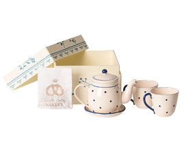 Tea and Biscuit Set for 2, weiss- blau