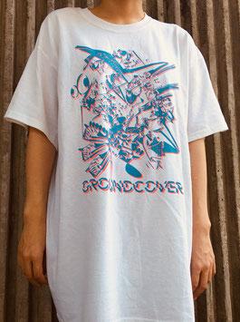 【White Body/Blue x Pink Print】GROUNDCOVER. Ataraw Art Work T-shirts 2019