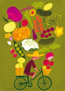 """Postkarte FAHRRAD """"Harvest"""" (Kehvola)"""