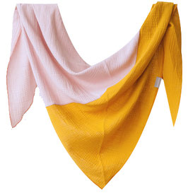 Großes Dreiecks-Halstuch Mustard/Rosé (Rasmussons)