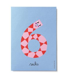 "Zahlenpostkarte ""6"" (Unter Pinien)"