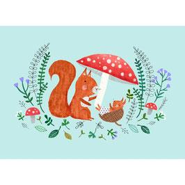 """Postkarte """"Eichhörnchen mit Baby"""""""