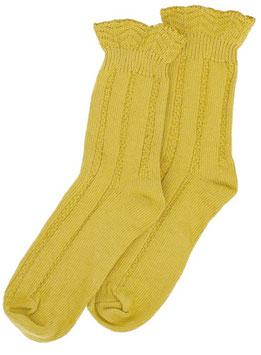 Forever England Socken Ruffle Top OCHRE Gr. 36-40