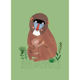 "Postkarte ""Affe mit Baby"""