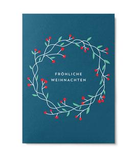 """Postkarte """"Föhliche Weihnachten"""" Kranz (Unter Pinien)"""