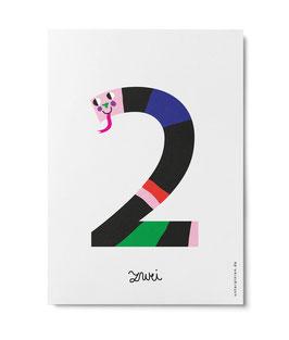 "Zahlenpostkarte ""2"" (Unter Pinien)"