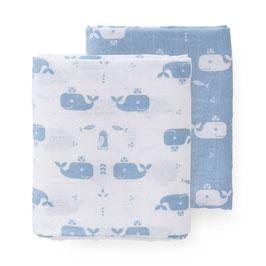 Mulltücher im 2er Set WALE (FRESK) Babyblau