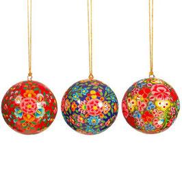 Pappmaschee Weihnachtshänger Kashmiri Floral (Sass & Belle) KUGEL
