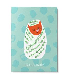 """Postkarte """"Hallo Baby"""" (Unter Pinien)"""