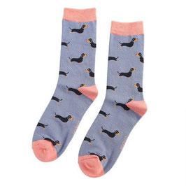 Bambus Socken Dackel dusty blue (Miss Sparrow) 37-42