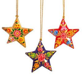 Pappmaschee Weihnachtshänger Kashmiri Floral (Sass & Belle) STAR