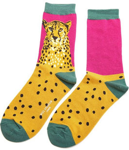 Bambus Socken  CHEETAH hotpink (Miss Sparrow) 37-42