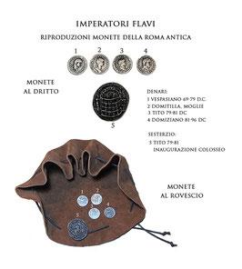 Borsa romana con riproduzioni di monete  della Roma antica - Imperatori Flavi che realizzarono il Colosseo