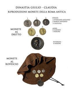 Borsa romana con riproduzioni di monete  della Roma antica - Dinastia Giulio - Claudia