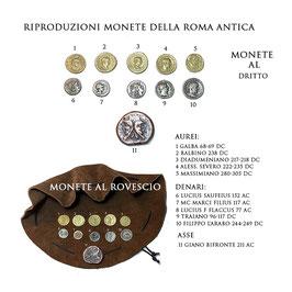 Borsa romana con riproduzioni di monete miste  della Roma antica.
