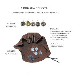 Borsa romana con riproduzioni di monete  della Roma antica - La dinastia dei Severi