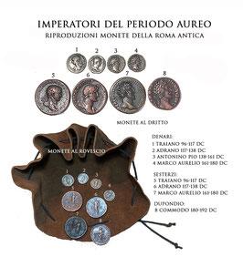 Borsa romana con riproduzioni di monete  della Roma antica -  Imperatori del periodo aureo