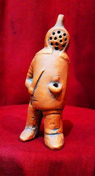 Riproduzione Lucerna in terracotta rossa  a forma di gladiatore