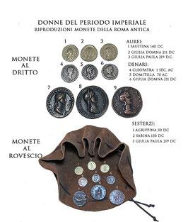 Borsa romana con riproduzioni di monete  della Roma antica - Donne del periodo imperiale