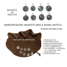Borsa romana con riproduzioni di monete  della Roma antica - denari repubblicani