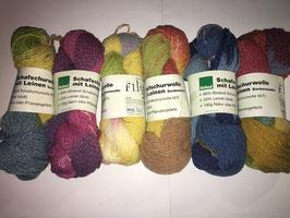 Bioland Schafschurwolle mit Leinen, Sockenwolle, 100 g