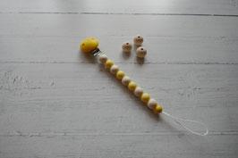 Schnullerkette gelber Clip
