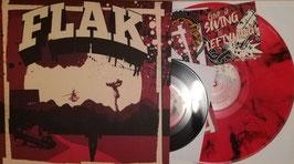 """FLAK- Der Massstab LP+7"""" Rot- Transparent mit schwarzen Schlieren"""