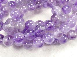 10.1mm Perles d'Améthyste naturel en boule / ronde du Brésil pierre fine violette x10pc (#AC719)