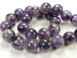 11.6/12mm Perles d'Améthyste naturel en boule / ronde du Brésil pierre fine violette x8pc (#AC579)