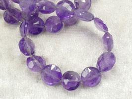 7/9mm Perles d'Améthyste naturel en pièce facettée du Brésil pierre fine violette x6pc (#AC607)