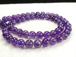 6.2/6.4mm x10 Perles d'Améthyste naturel en boule / ronde du Brésil pierre fine violette (#AC540)
