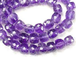 6.8/7.5mm x4pc perles d'Améthyste naturel en cube facetté du Brésil pierre fine violette (#AC467)