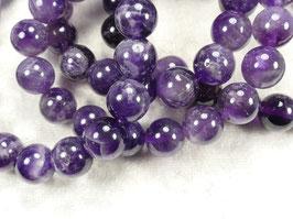9.8/10.4mm Perles d'Améthyste naturel en boule / ronde du Brésil pierre fine violette foncé x8pc (#AC721)