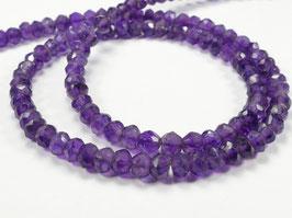 4.2/4.6mm Perles d'Améthyste intense naturel d'Afrique x10cm (3.9inch) rondelle facettée pierre fine violette (#AC630)